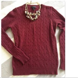 JCrew cable knit maroon sweater